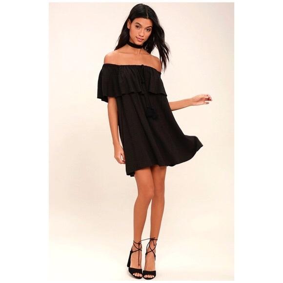 Lulu's Dresses & Skirts - Lulus Black Off Shoulder Dress With Flutter Sleeve